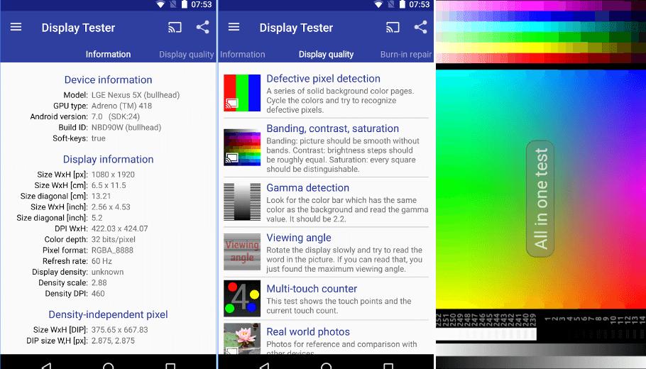 Display tester reparar pixeles defectuosos en android pc