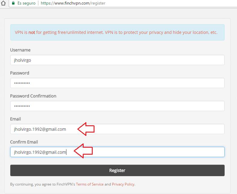 crear varias cuentas finchvpn con un mismo correo
