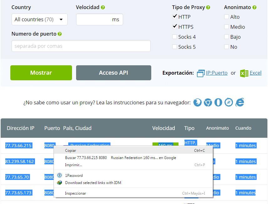 gratis proxys para psiphon apk