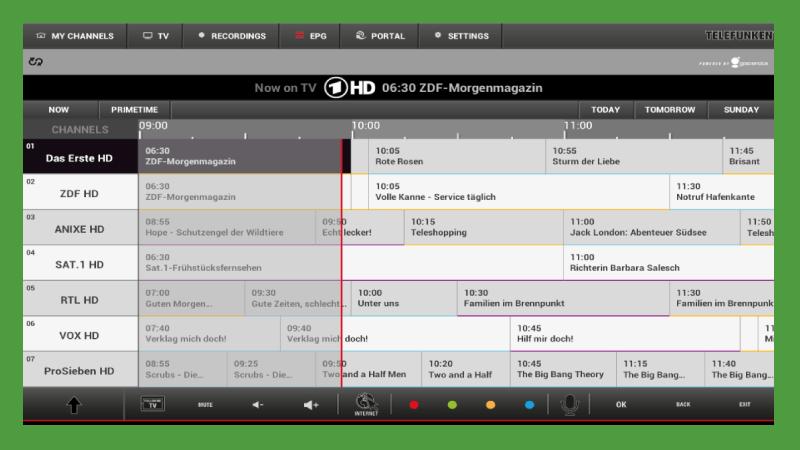 telefunken para smart tv programacion